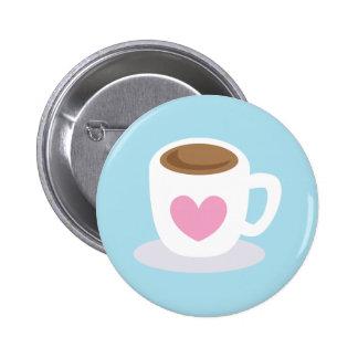 AME la taza de café del CAFÉ con un corazón del am Pin Redondo De 2 Pulgadas