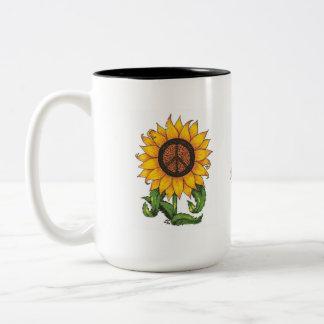 Ame la taza de café pacífica del girasol