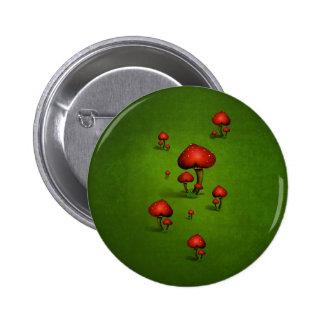 Ame las setas (del corazón) en fondo verde pin redondo 5 cm