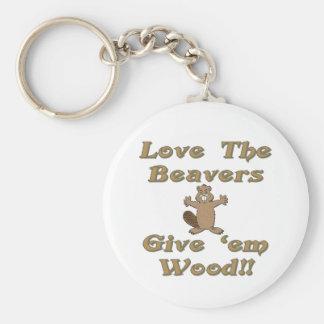 Ame los castores dan la madera del Em Llavero Redondo Tipo Pin
