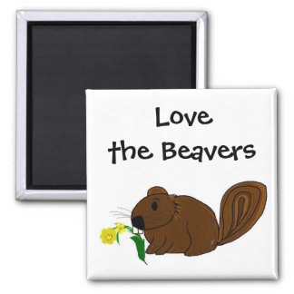 Ame los castores imán cuadrado