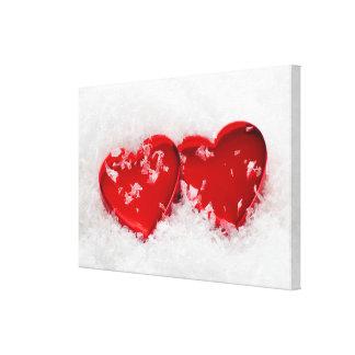 """Ame los corazones en la nieve 36"""" x 24"""" lona impresion de lienzo"""