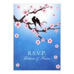 Ame los pájaros y Sakura - fondo azul RSVP Comunicados Personales