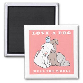 Ame los perritos de un perro tres iman de nevera