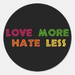 Ame más odio menos pegatinas redondas