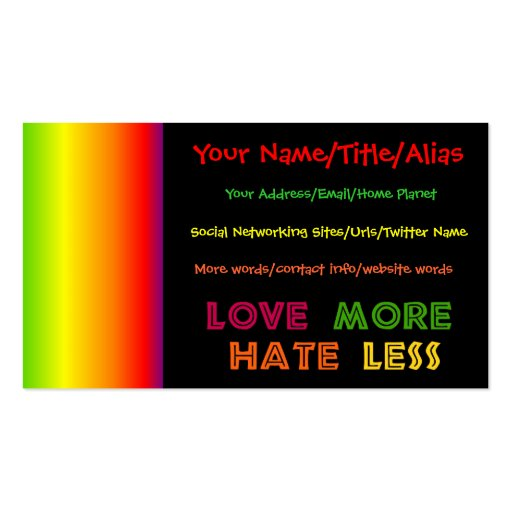 Ame más odio menos tarjetas de visita