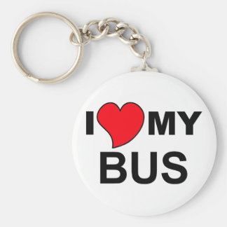 Ame mi autobús llavero redondo tipo pin