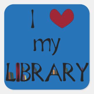 Ame mi biblioteca - cambie el color pegatina cuadrada