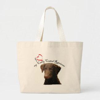 ame mi bolso revestido rizado del perro perdiguero bolsa de mano