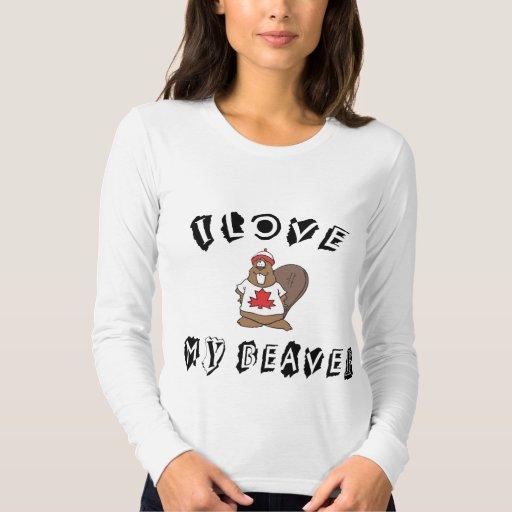 Ame mi camiseta canadiense del castor playeras