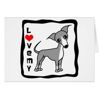 Ame mi galgo italiano - gris tarjeta de felicitación