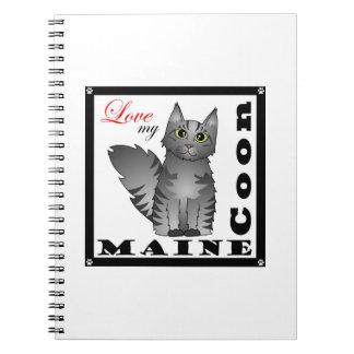 Ame mi gato de Coon de Maine - Tabby gris Libros De Apuntes Con Espiral