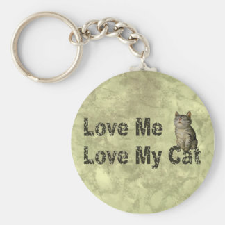 Ame mi gato llavero redondo tipo pin