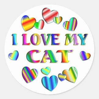 Ame mi gato etiqueta redonda