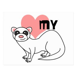 Ame mi hurón - blanco postales