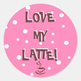 ¡Ame mi Latte! Pegatina Redonda