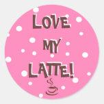 ¡Ame mi Latte! Pegatinas Redondas