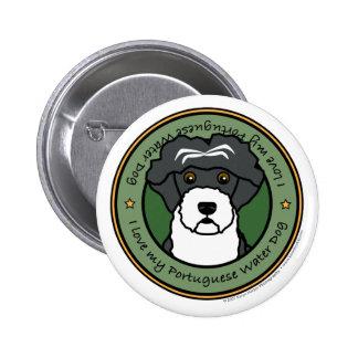 Ame mi perro de agua portugués pin redondo de 2 pulgadas