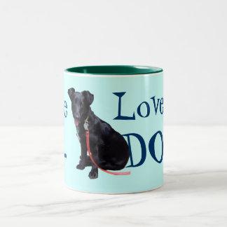 Ame mi perro taza de café de dos colores
