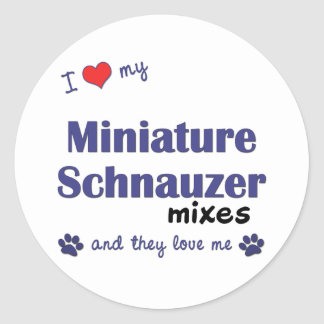 Ame mi Schnauzer miniatura se mezcla (los perros Pegatina Redonda