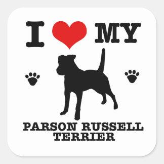 Ame mi terrier de Russell del párroco Calcomania Cuadradas