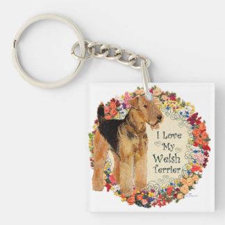 Ame mi Terrier galés Llavero Cuadrado Acrílico A Doble Cara
