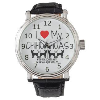 Ame mis cuatro chihuahuas relojes de pulsera