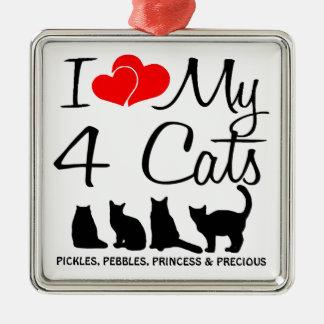 Ame mis CUATRO gatos Adorno Navideño Cuadrado De Metal
