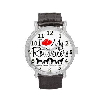 Ame mis cuatro Rottweilers Relojes De Pulsera