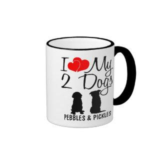 Ame mis DOS perros Taza De Dos Colores