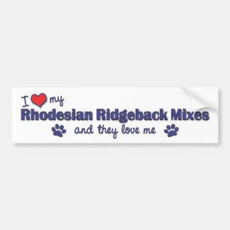Ame mis mezclas de Rhodesian Ridgeback (los perros Pegatina Para Auto