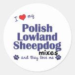 Ame mis mezclas polacas del perro pastor de la pegatinas redondas