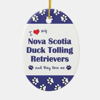 Ame mis perros perdigueros tocantes del pato de adorno navideño ovalado de cerámica