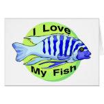 Ame mis pescados tarjeta