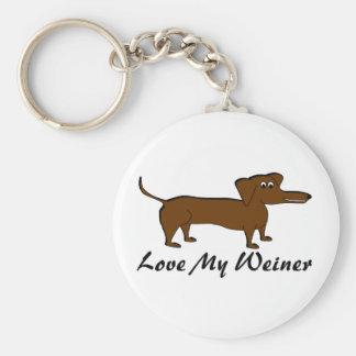 Ame mis productos del perro de Weiner Llavero Redondo Tipo Pin