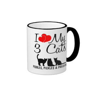 Ame mis TRES gatos Taza De Dos Colores