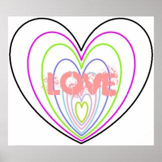 AME muchos corazones del neón de la ilusión óptica Impresiones