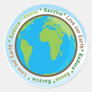 ¡Ame nuestra tierra reducen, reutilizan, y Pegatina Redonda