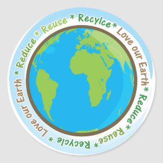 ¡Ame nuestra tierra reducen reutilizan y recicla Etiqueta Redonda