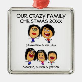 Ame nuestro ornamento loco de tres niños adorno navideño cuadrado de metal