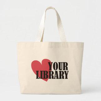 Ame su biblioteca bolsa tela grande