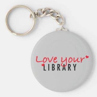 Ame su biblioteca llavero redondo tipo pin