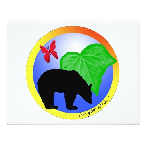 """Ame su oso y mariposa de la tierra invitación 4.25"""" x 5.5"""""""