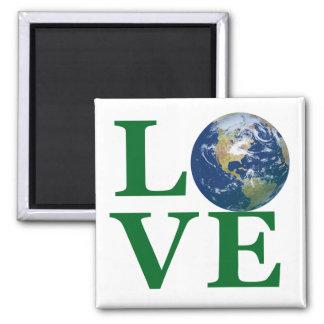 Ame su tierra imán cuadrado