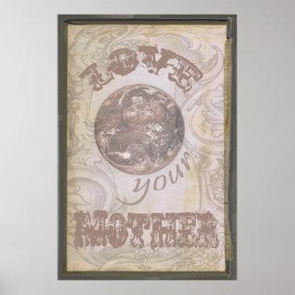 Ame su vintage del poster del Grunge de la madre t