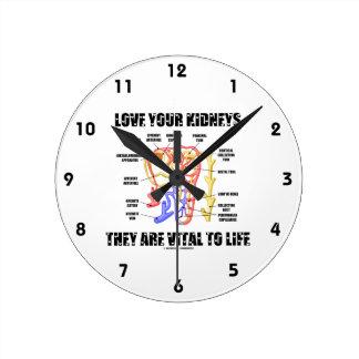 Ame sus riñones que son vitales a la vida (Nephron Reloj Redondo Mediano