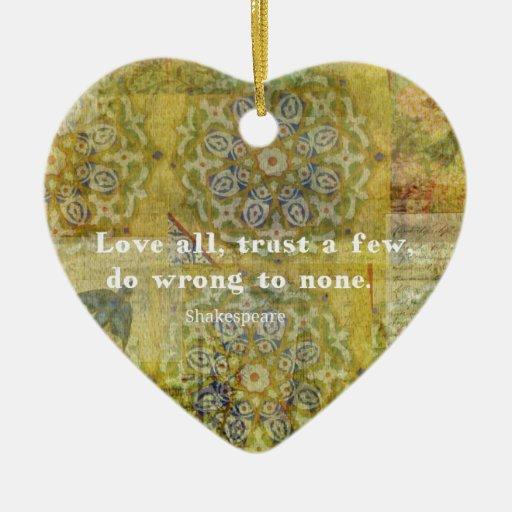 Ame todos, confíe en algunos, perjudiqúelos a adorno navideño de cerámica en forma de corazón