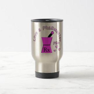 Ame un diseño de la maja y del mortero del taza de viaje