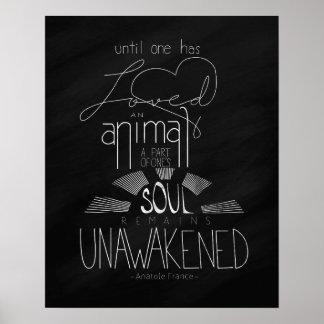 Ame un poster puesto letras la mano animal de