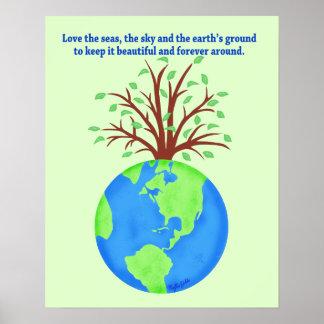 Ame y ahorre el arte del ambiente de la tierra poster